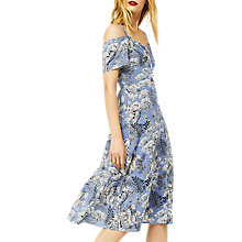 Buy Warehouse Tiger Print Button-Through Dress, Blue Online at johnlewis.com