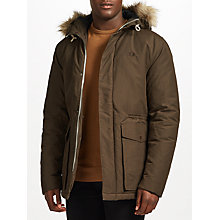 Buy Fred Perry Quilted Faux Fur Trim Parka, Dark Grey Online at johnlewis.com