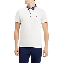 Buy Lyle & Scott Check Woven Collar Polo Top, Off White Online at johnlewis.com