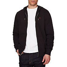 Buy Original Penguin Raised Rib Pique Hooded Sweatshirt, True Black Online at johnlewis.com