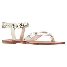 Buy Carvela Klip Block Heeled Court Sandals, Gold Online at johnlewis.com
