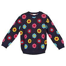 Buy Margherita Kids Girls' Daisy Double Knit Jumper, Black Online at johnlewis.com