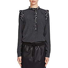 Buy Oui Dot Blouse, Black/White Online at johnlewis.com