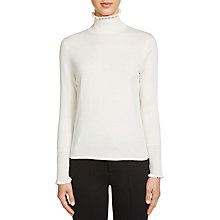 Buy Oui Frill High Neck Silk Blend Jumper, Cloud Dancer Online at johnlewis.com