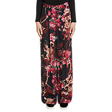 Buy Oui Wide Printed Trousers, Black/Red Online at johnlewis.com