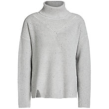Buy Oui Metallic Detail Roll Neck Jumper, Grey Online at johnlewis.com