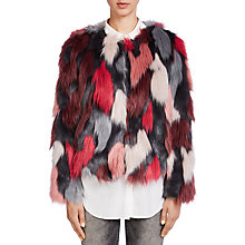 Buy Oui Faux Fur Coat, Off White/Red Online at johnlewis.com