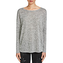 Buy Oui Knitted Split Back Top, Grey/White Online at johnlewis.com