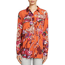 Buy Oui Printed Blouse, Dark Orange/Camel Online at johnlewis.com