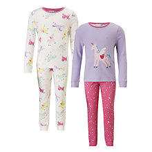 Buy John Lewis Children's Unicorn Print Pyjamas, Pack of 2, White/Lilac Online at johnlewis.com