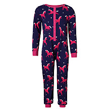Buy John Lewis Children's Unicorn Jersey Onesie, Blue/Pink Online at johnlewis.com