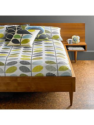 Orla Kiely Scribble Stem Cotton Bedding, Duck Egg/Sea Grass