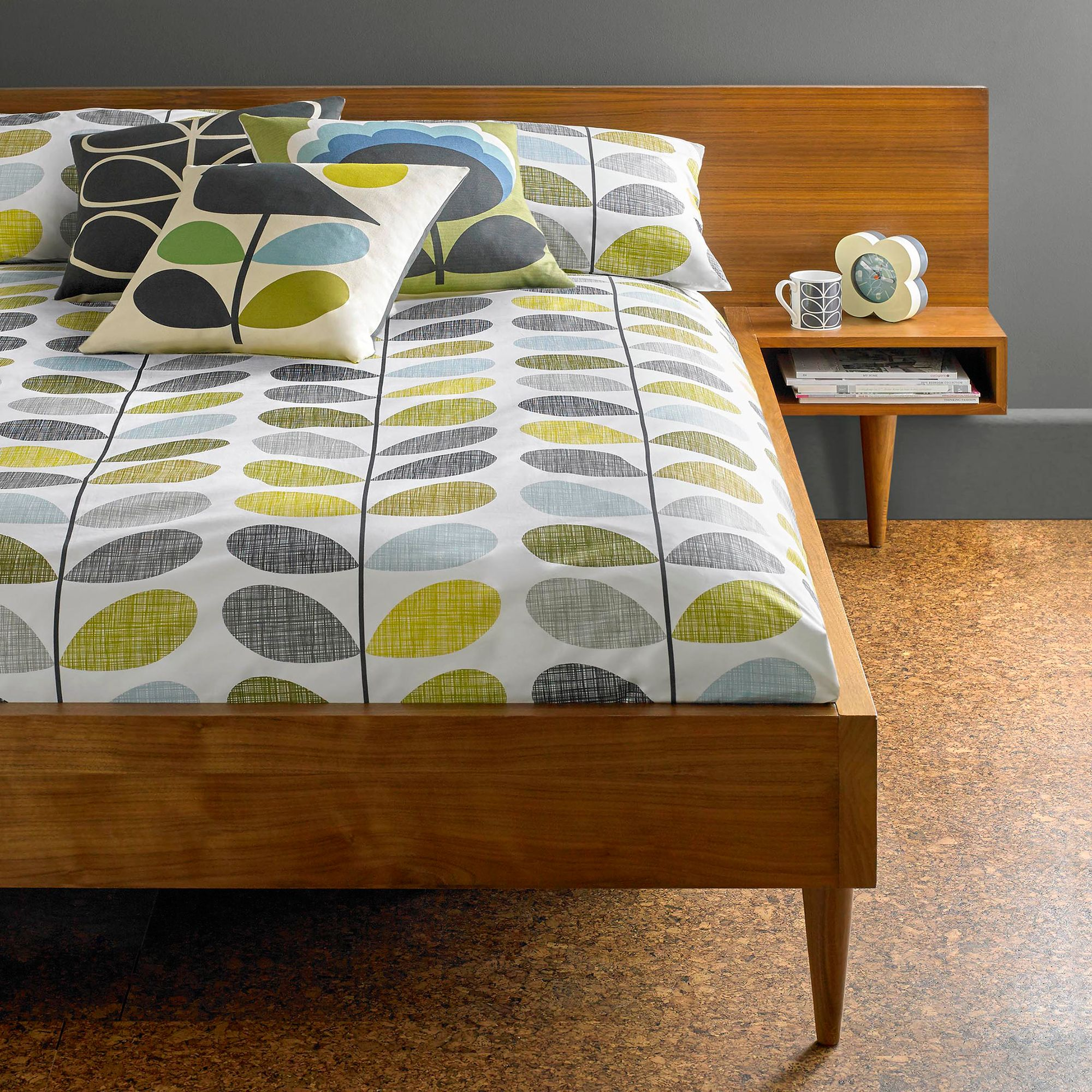Orla Kiely Orla Kiely Scribble Stem Cotton Bedding, Duck Egg/Sea Grass