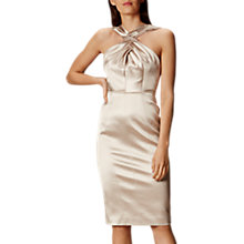 Buy Karen Millen Draped Signature Satin Dress, Champagne Online at johnlewis.com