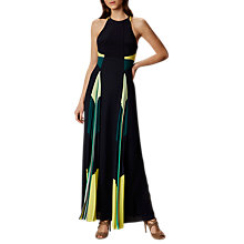 Buy Karen Millen Pleated Panel Maxi Dress, Blue/Multi Online at johnlewis.com