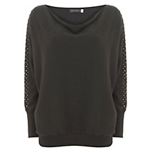 Buy Mint Velvet Stud Sleeve Batwing Jumper, Dark Green Online at johnlewis.com