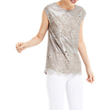 Buy Oasis Metallic Lace T-Shirt, Silver Online at johnlewis.com