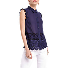Buy Oasis Broderie Hem Shirt, Navy Online at johnlewis.com