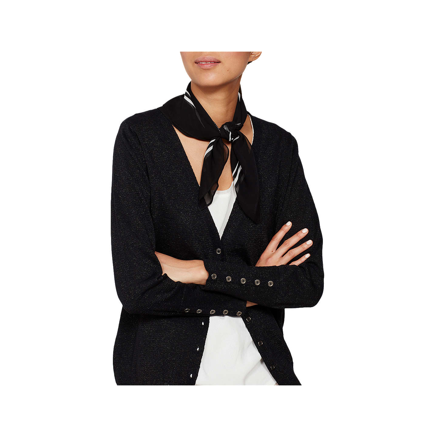 BuyMint Velvet Metallic Boyfriend Cardigan, Black, 6 Online at johnlewis.com