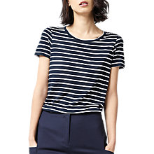 Buy Warehouse Stripe Smart T-Shirt, Blue/White Online at johnlewis.com