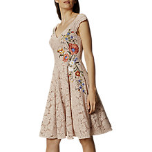 Buy Karen Millen Lace Embroidered Prom Dress, Neutral Online at johnlewis.com