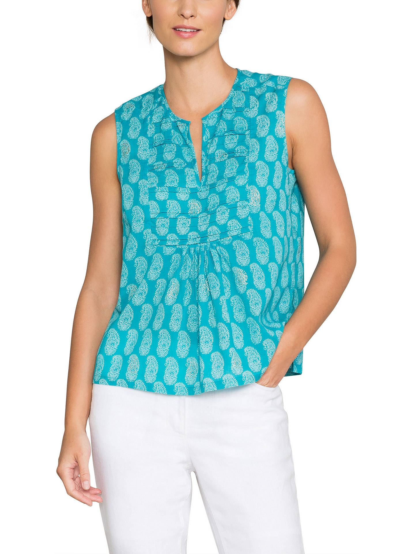 6a892d57b40108 Buy East Anokhi Bamzai Sleeveless Top, Turquoise, 10 Online at  johnlewis.com ...