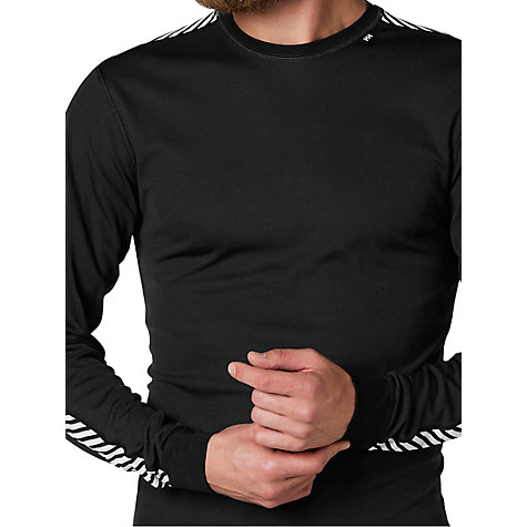 Buy Helly Hansen Lifa Stripe Base Layer Crew Top, Black Online at johnlewis.com