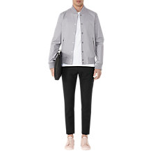 Buy Reiss President Button Bomber Jacket, Soft Grey Online at johnlewis.com