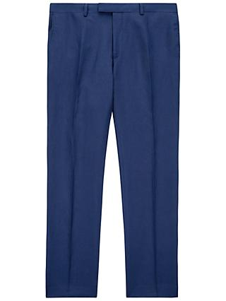 Jaeger Silk Linen Regular Fit Suit Trousers, Blue