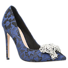 Buy KG by Kurt Geiger Bow Embellished Stiletto Court Shoes, Blue Online at johnlewis.com