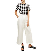 Buy Jaeger Linen Wide Leg Trouser, Ivory Online at johnlewis.com