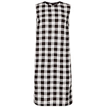 Buy Jaeger Linen Gingham Dress, Black/White Online at johnlewis.com