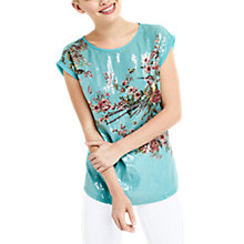 Buy Oasis Maybelle Sequin Woven Front T-Shirt, Turquoise Online at johnlewis.com