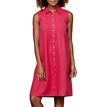 Buy East Linen Pintuck Sleeveless Dress, Magenta Online at johnlewis.com