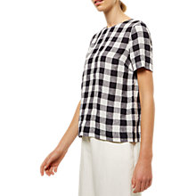 Buy Jaeger Linen Gingham Shirt, Black/White Online at johnlewis.com