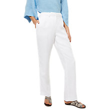Buy Jaeger Linen Straight Leg Trousers, White Online at johnlewis.com