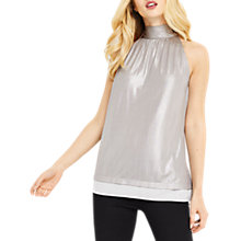Buy Oasis Liquid Foil Halter Top, Silver Online at johnlewis.com