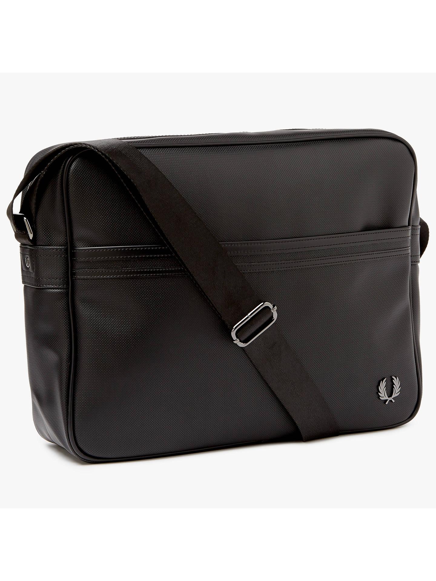 senast storlek 40 nya stilar Fred Perry Piqué Texture Shoulder Bag, Black at John Lewis & Partners