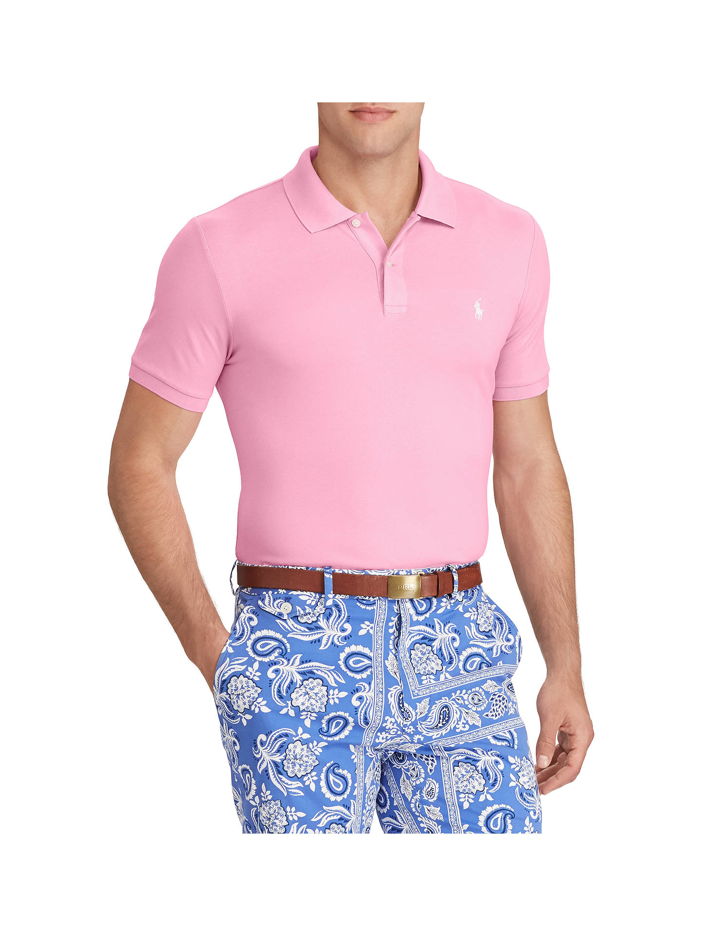 47be7ec12 Buy Polo Golf by Ralph Lauren Stretch Mesh Pro Fit Polo Shirt, Beach Pink,  ...