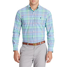 Buy Polo Golf by Ralph Lauren Performance Poplin Button Down Pin Point Collar Shirt, Green/Blue Multi Online at johnlewis.com