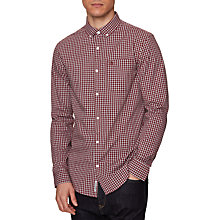 Buy Original Penguin Gingham Long Sleeve Shirt, Pomegranate Online at johnlewis.com