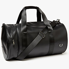 Buy Fred Perry Pique Textured Barrel Bag, Black Online at johnlewis.com