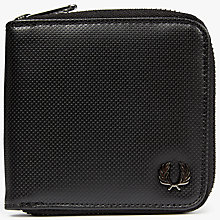 Buy Fred Perry Pique Texture Zip Around Wallet, Black Online at johnlewis.com