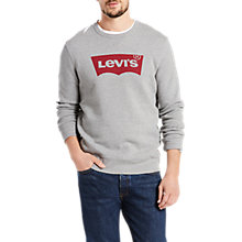Buy Levi's Graphic Crew Neck Jersey Top, Mid Grey Heather Online at johnlewis.com