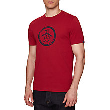 Buy Original Penguin Distressed Circle Logo T-Shirt, Rio Red Online at johnlewis.com