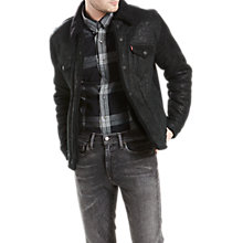 Buy Levi's Shearling Trucker Jacket, Black Online at johnlewis.com