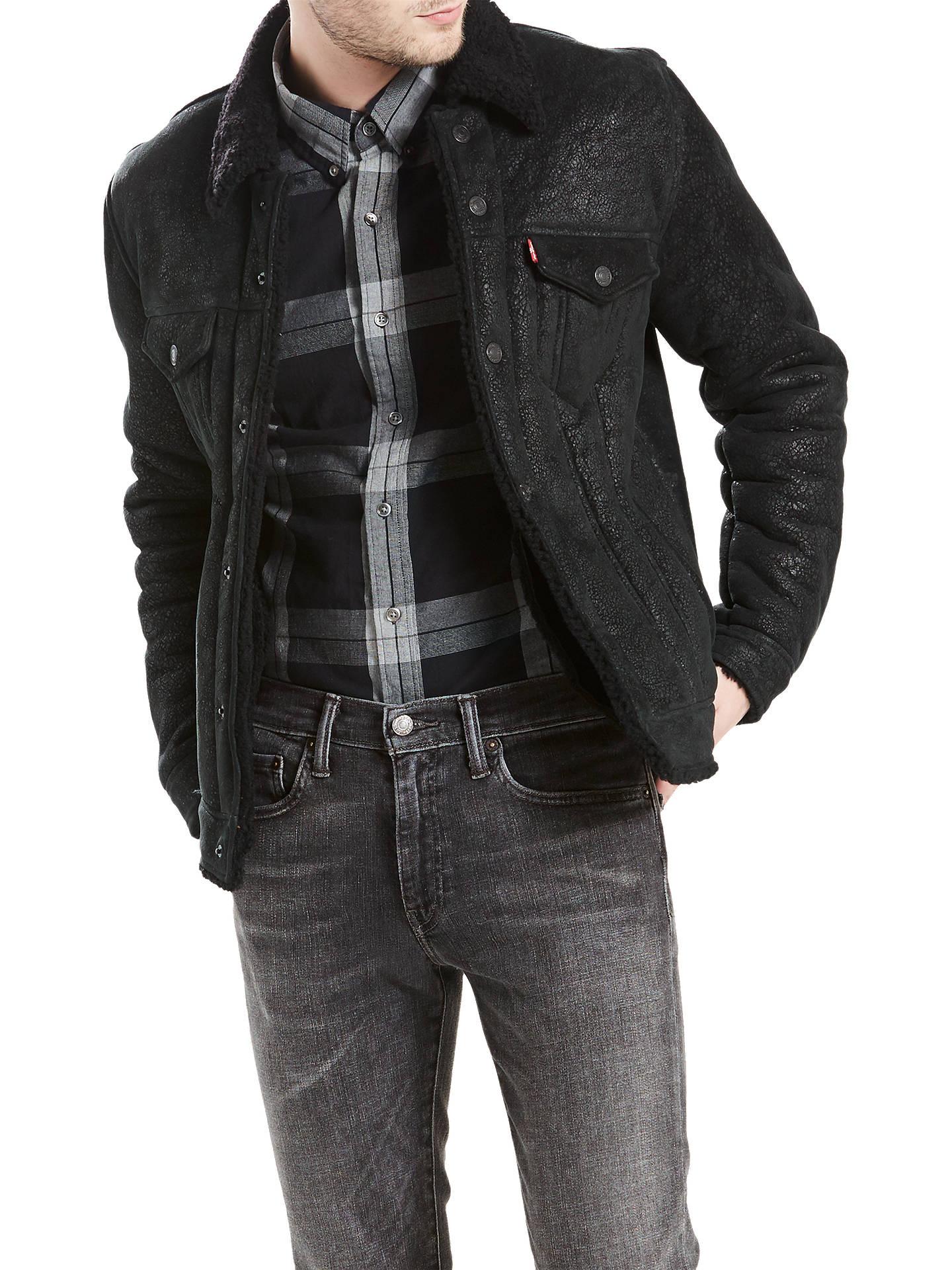 5847dc03c8b0 Buy Levi's Shearling Trucker Jacket, Black, S Online at johnlewis. ...
