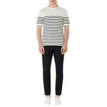 Buy Reiss Edmond Breton Stripe Short Sleeve Jumper, Ecru Online at johnlewis.com