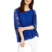 Buy Phase Eight Cecily Burnout Top, Marina Blue Online at johnlewis.com