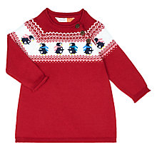 Buy John Lewis Baby Penguin Intarsia Knit Dress, Red Online at johnlewis.com